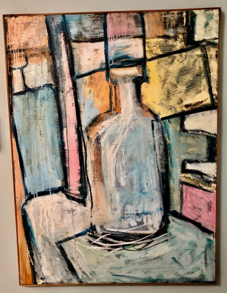 Robert Saaf Untitled: bottle on chair, oil on stretched canvas